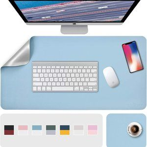 """31.5"""" x 15.7"""" + 8""""x11"""" Leather Desk Pad 2 Pack, Light Blue__Silver"""